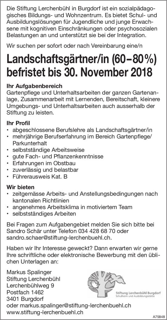 Landschaftsgärtner/in (60–80%), bis 30. November, Stiftung Lerchenbühl, Burgdorf, gesucht
