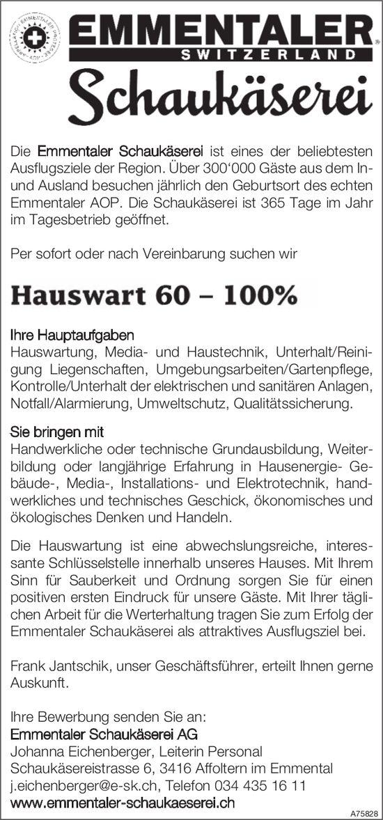 Hauswart 60 - 100%, Emmentaler Schaukäserei AG, Affoltern im Emmental, gesucht