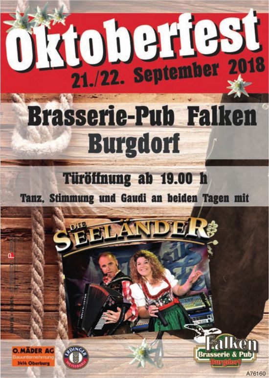 Oktoberfest, 21./22. September, Brasserie-Pub Falken, Burgdorf