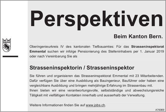 Strasseninspektorin / Strasseninspektor, nationales Tiefbauamt, Kanton Bern, gesucht