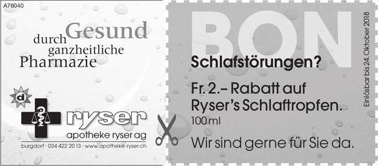 Apotheke Ryser AG, Burgdorf - Schlafstörungen? Fr. 2.– Rabatt auf Ryser's Schlaftropfen