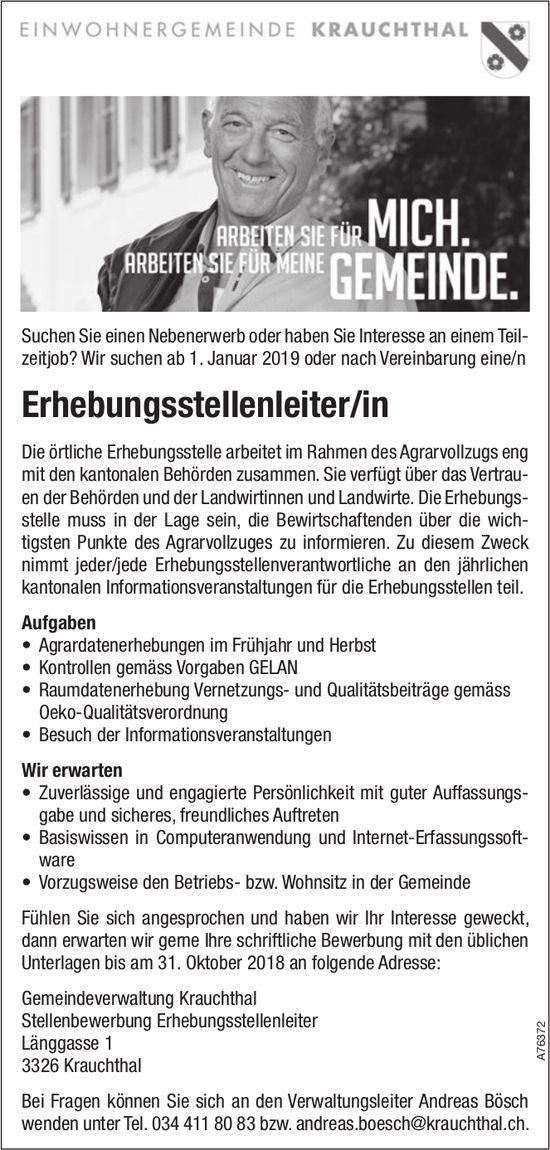 Erhebungsstellenleiter/in, Gemeindeverwaltung Krauchthal, gesucht