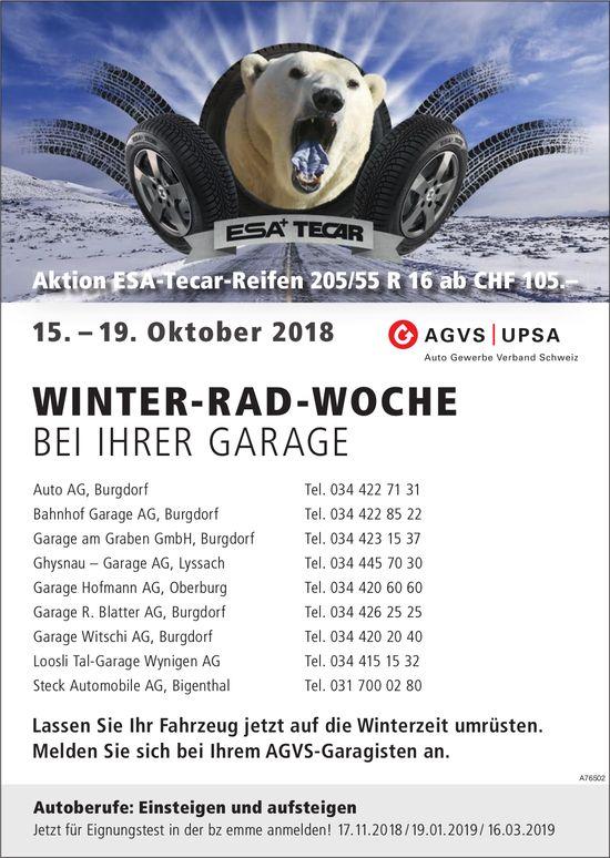 WINTER-RAD-WOCHE, 15. - 19. Oktober, BEI IHRER GARAGE