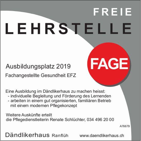 Dändlikerhaus Ranflüh - Ausbildungsplatz 2019: Fachangestellte Gesundheit EFZ