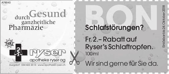 Apotheke Ryser AG - Fr. 2.– Rabatt auf Ryser's Schlaftropfen.