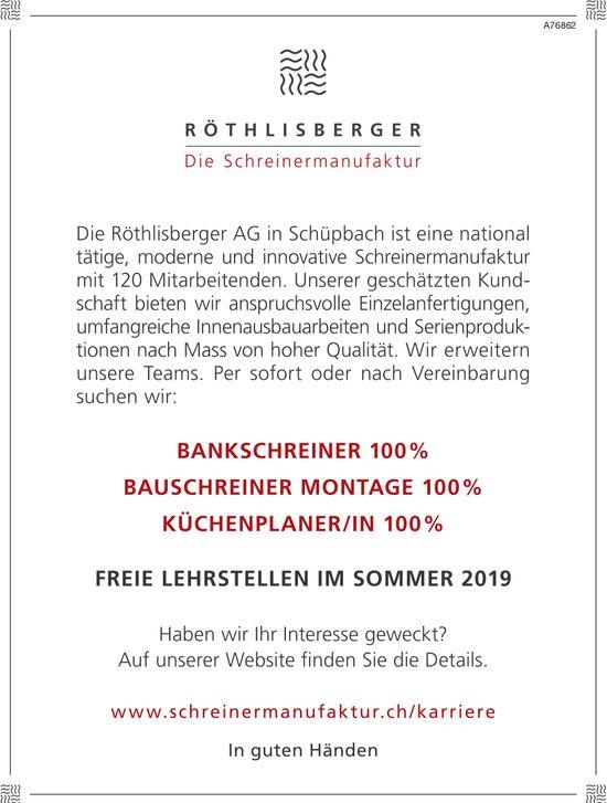 BANKSCHREINER 100%, BAUSCHREINER MONTAGE 100%, KÜCHENPLANER/IN 100%, Schreinermanufaktur, Schüpbach