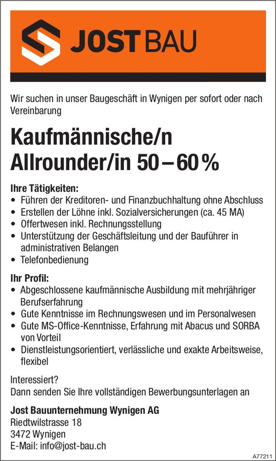 Kaufmännische/r Allrounder/in 50 – 60%, Jost Bauunternehmung Wynigen AG, gesucht