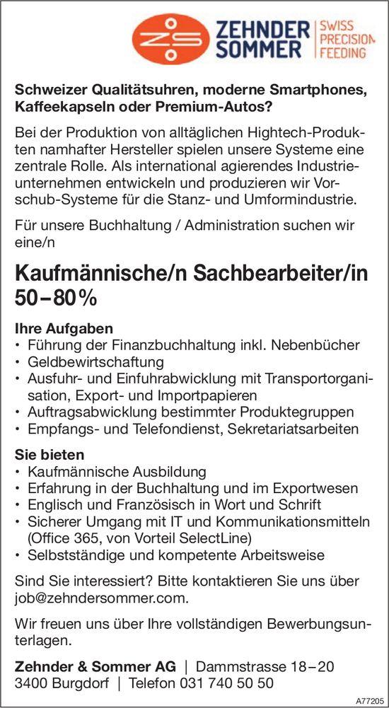 Kaufmännische/r Sachbearbeiter/in 50 – 80%, Zehnder & Sommer AG, Burgdorf