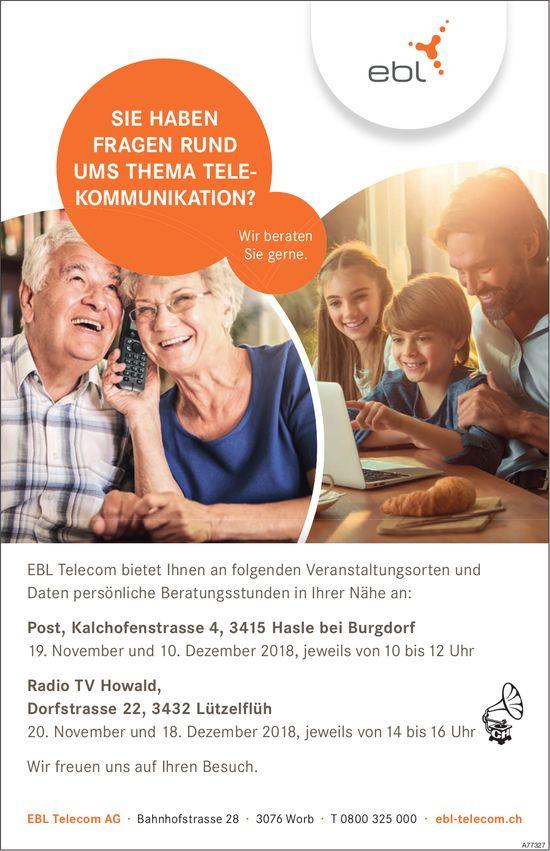 EBL Telecom - persönliche Beratungsstunden, 18./19. November & 10. + 18. Dezember