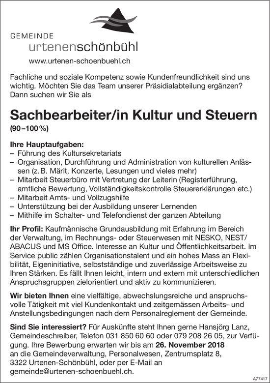 Sachbearbeiter/in Kultur und Steuern (90–100%), Gemeinde Urtenen-Schönbühl, gesucht