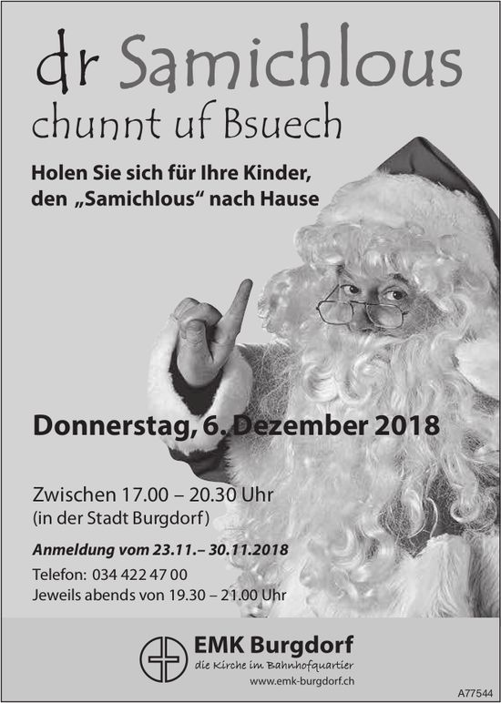 Dr Samichlous chunnt uf Bsuech, 6. Dezember, Stadt Burgdorf