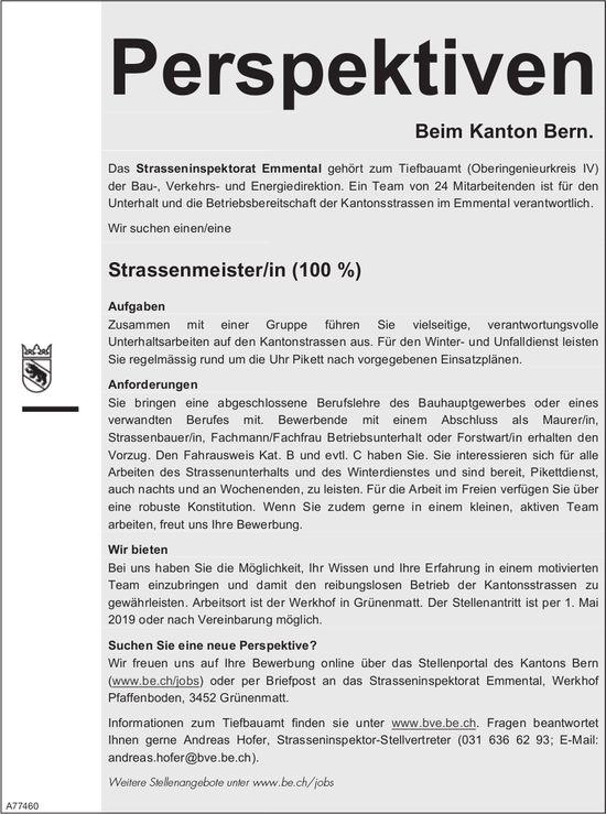 Strassenmeister/in (100 %), Strasseninspektorat Emmental, gesucht