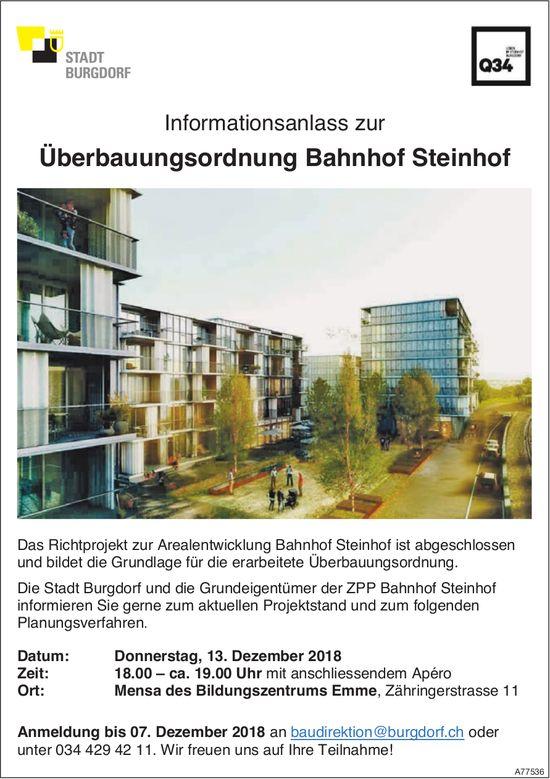 Infoanlass zur Überbauungsordnung Bahnhof Steinhof, 13. Dezember, Bildungszentrum Emme, Burgdorf