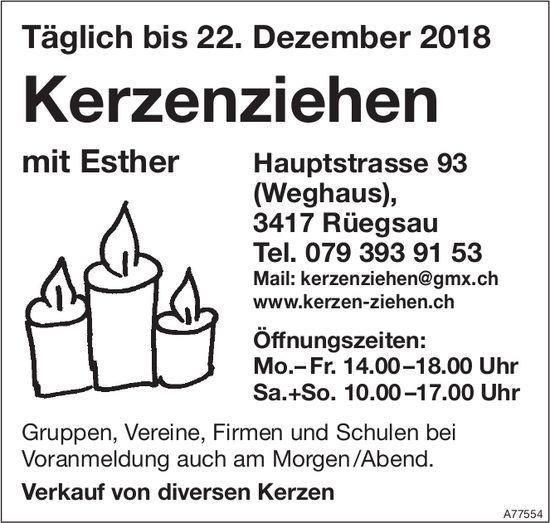 Kerzenziehen mit Esther, täglich bis 22. Dezember, Rüegsau