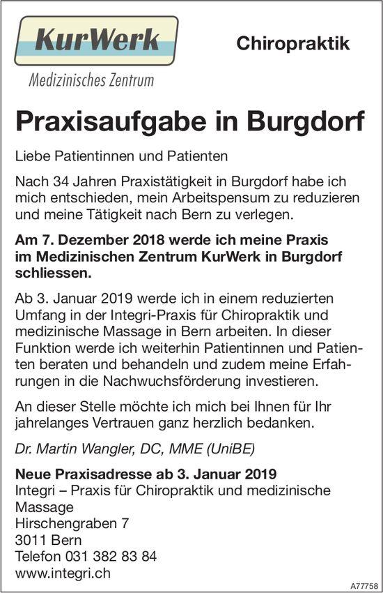 KurWerk, Medizinisches Zentrum - Praxisaufgabe in Burgdorf