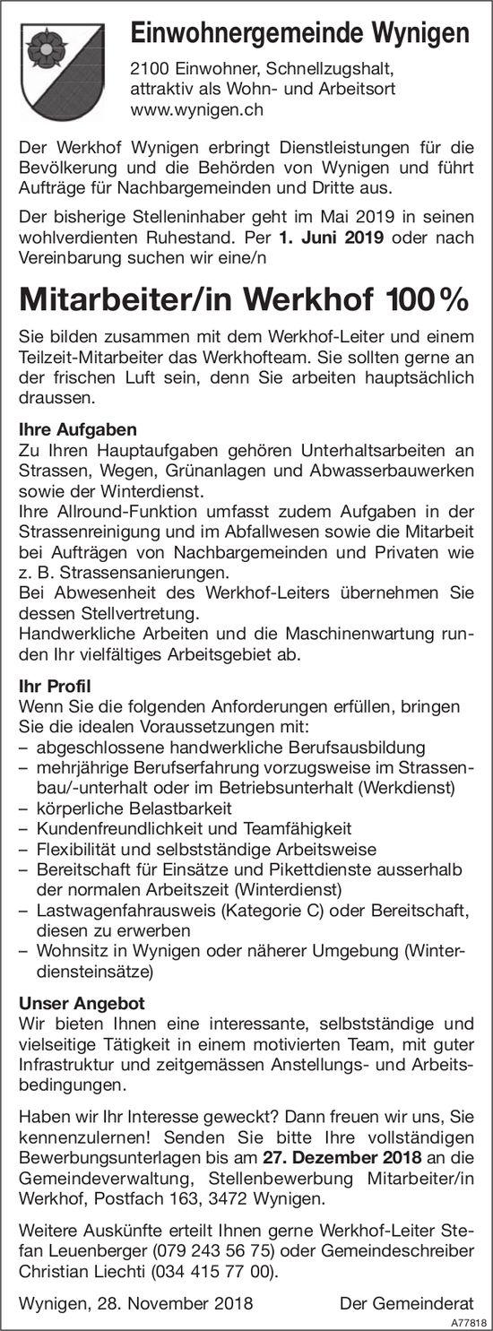 Mitarbeiter/in Werkhof 100%, Einwohnergemeinde Wynigen, gesucht