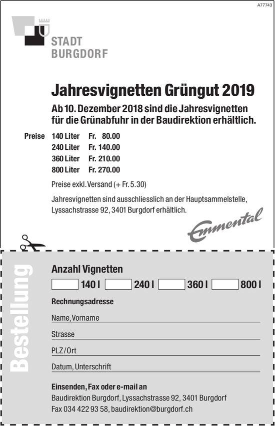 Jahresvignetten Grüngut 2019, Stadt Burgdorf