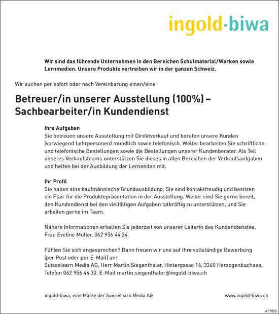 Betreuer/in unserer Ausstellung (100%) – Sachbearbeiter/in Kundendienst, Suisselearn Media AG