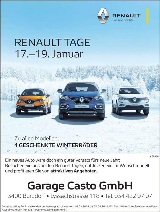 RENAULT TAGE 17.–19. Januar, Garage Casto GmbH, Burgdorf