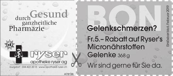 Apotheke Ryser AG, Burgdorf - Gelenkschmerzen?