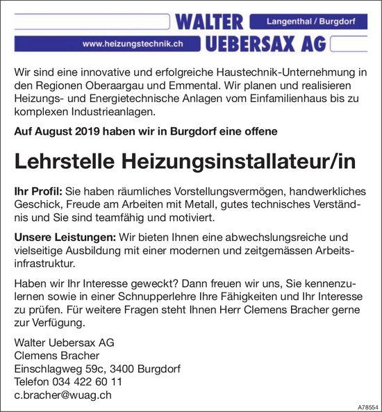 Lehrstelle Heizungsinstallateur/in, Walter Uebersax AG, Burgdorf, zu vergeben