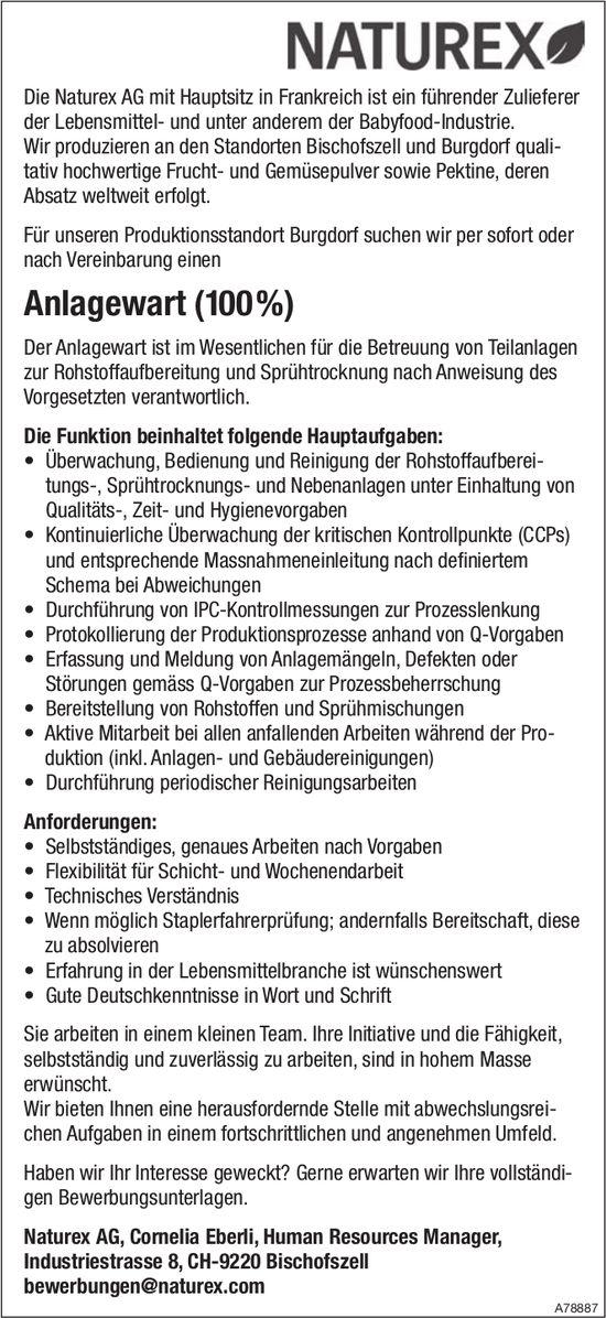 Anlagewart (100%), Naturex AG, Burgdorf, gesucht