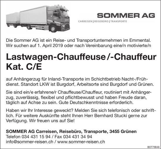 Lastwagen-Chauffeuse/-Chauffeur Kat.C/E, SOMMER AG, Grünen, gesucht