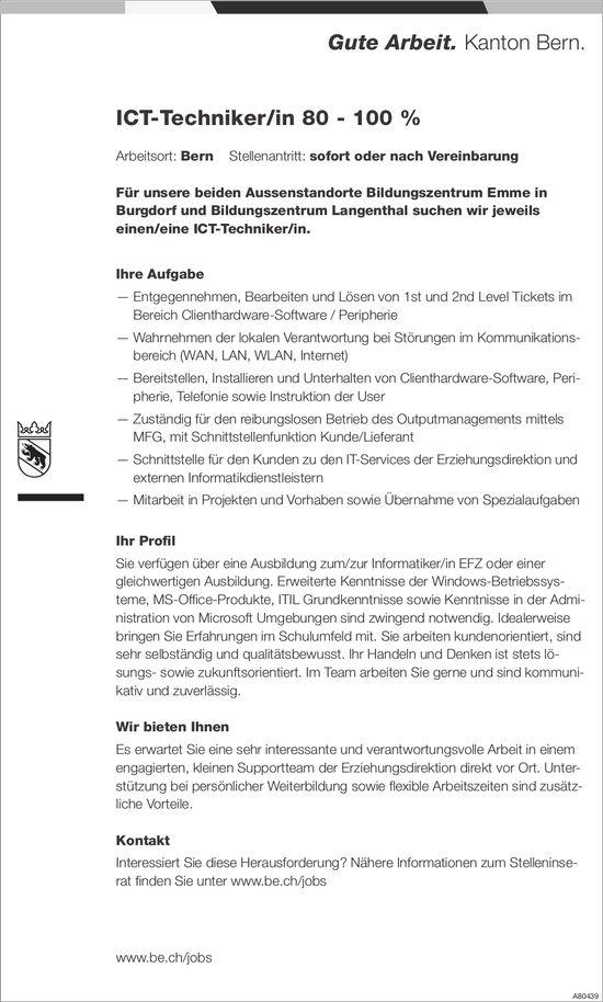 ICT-Techniker/in 80 - 100 %, Bildungszentrum Emme, Burgdorf & Bildungszentrum Langenthal, gesucht