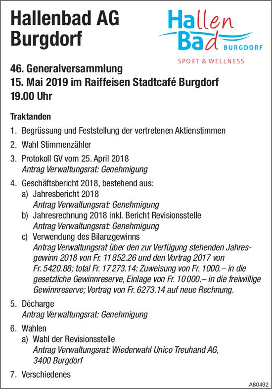 46. Generalversammlung, Hallenbad AG Burgdorf, 15. Mai, Raiffeisen Stadtcafé Burgdorf