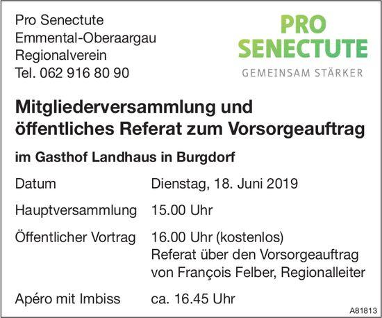 Mitgliederversammlung & öffentl. Referat zum Vorsorgeauftrag, 18. Juni, Gasthof Landhaus Burgdorf