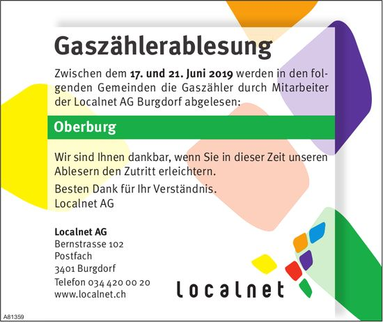 Localnet AG - Gaszählerablesung, 17. - 21. Juni, Oberburg