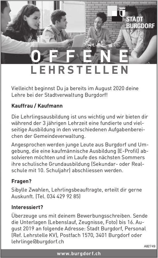 Lehrstelle als Kauffrau / Kaufmann, Stadt Burgdorf, zu vergeben
