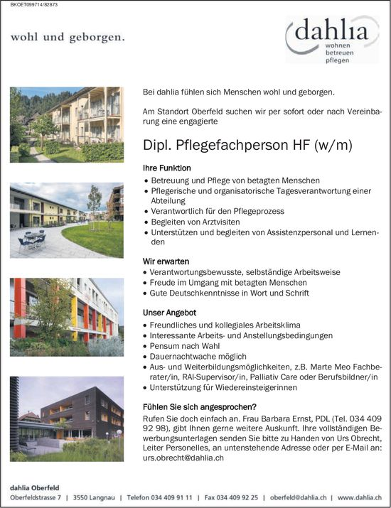 Dipl. Pflegefachperson HF (w/m), dahlia Oberfeld, gesucht