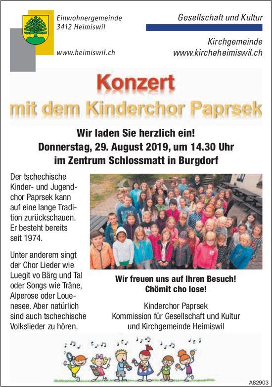 Konzert mit dem Kinderchor Paprsek, 29. August, Zentrum Schlossmatt, Burgdorf