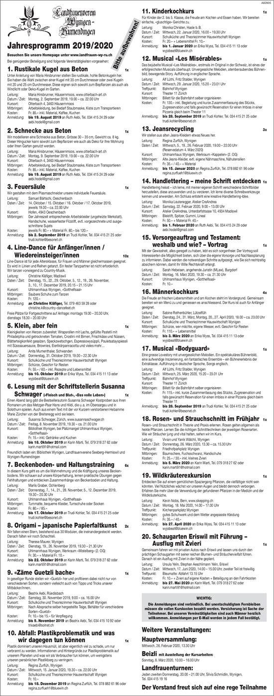 Jahresprogramm 2019/2020, Landfrauenverein Wynigen-Rumendingen
