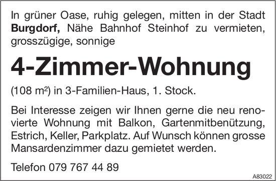 4-Zimmer-Wohnung, Burgdorf, zu vermieten