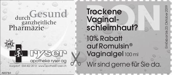 Apotheke Ryser AG - 10% Rabatt auf Romulsin Vaginalgel