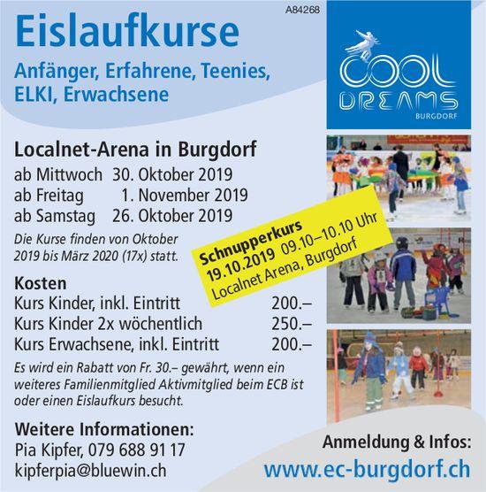 Cool Dreams Burgdorf - Eislaufkurse: Anfänger, Erfahrene, Teenies, ELKI, Erwachsene