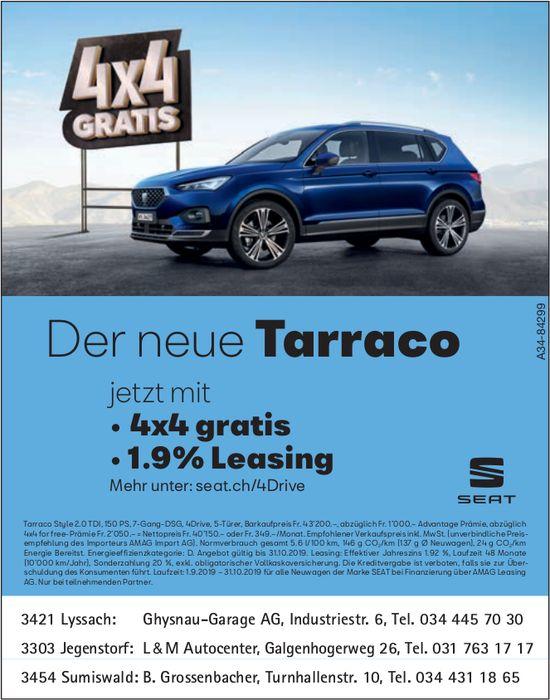 DerneueSeat Tarraco jetzt mit 4x4 gratis und 1.9% Leasing