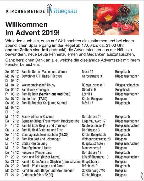 Kirchgemeinde Rüegsau - Willkommen im Advent 2019!