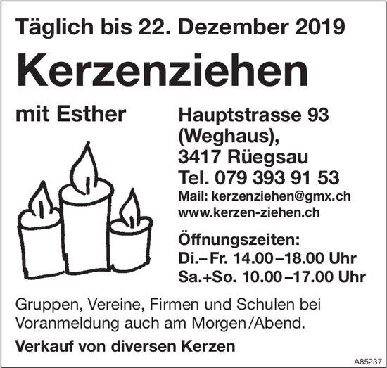 Kerzenziehen mit Esther täglich bis 22. Dezember