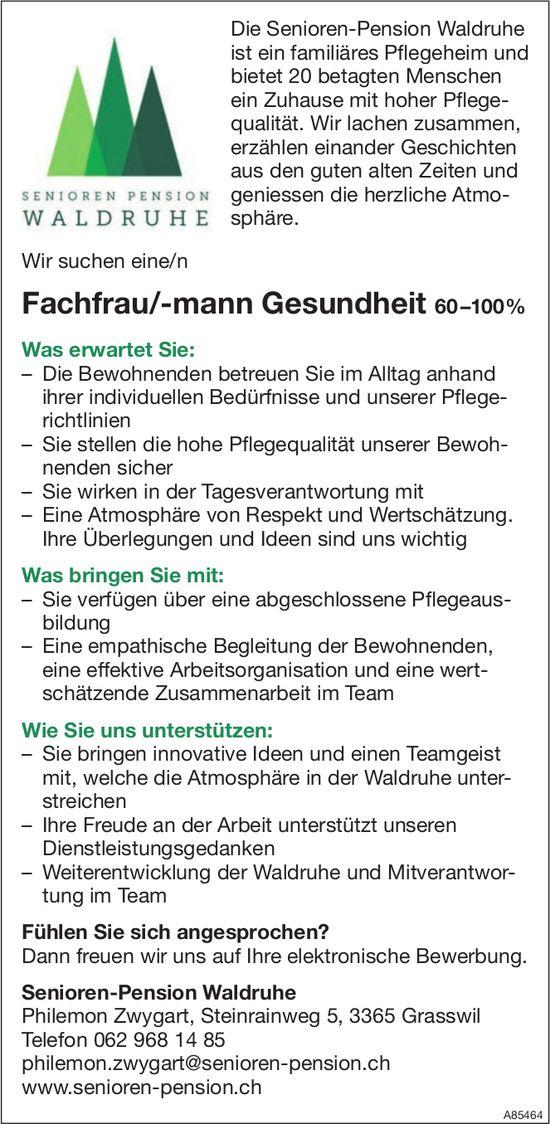 Fachfrau/-mann Gesundheit 60–100%, Senioren-Pension Waldruhe, Grasswil, gesucht