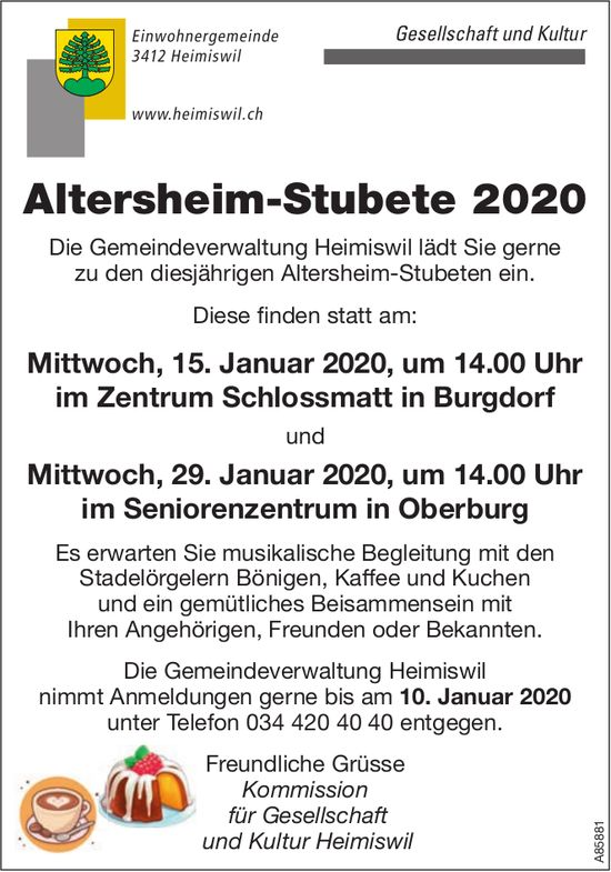 Altersheim-Stubete 2020, 15. Januar, Schlossmatte Burgdorf & 29. Januar, Seniorenzentrum Oberburg