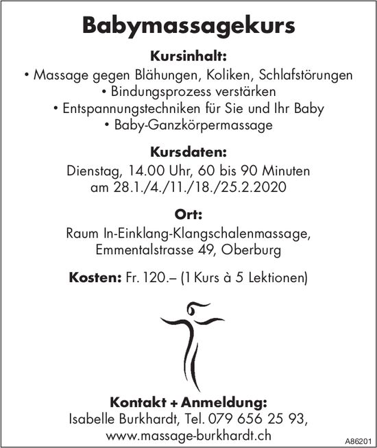 Kursdaten Babymassagekurs, ab 28. Januar, Oberburg