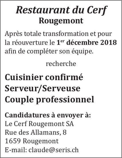 Cuisinier confirmé, serveur/serveuse, couple professionnel recherchés, Restaurant du Cerf