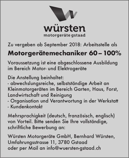 Motorgerätemechaniker 60 – 100% gesucht, Würsten Motorgeräte GmbH
