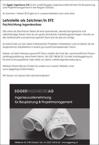 Lehrstelle als Zeichner/in EFZ Fachrichtung Ingenieurbau, Egger Ingenieure AG