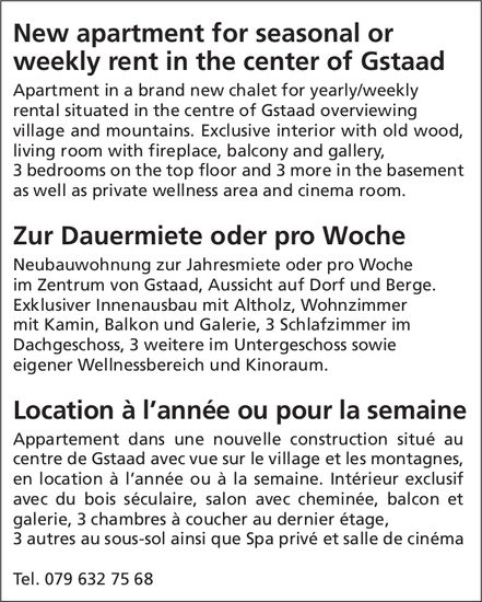 New apartment for seasonal or weekly rent in the center of Gstaad