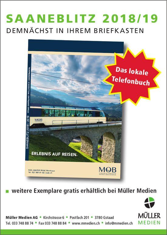 Saaneblitz 2018/19 demnächst in Ihrem Briefkasten, Müller Medien AG