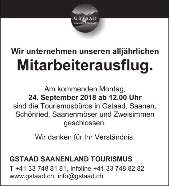 Mitarbeiterausflug, 24. September, Gstaad Saanenland Tourismus